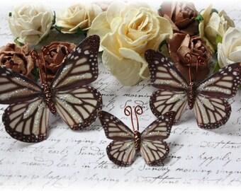Carmel Macchiato Butterfly Die Cut Embellishments for Scrapbooking, Cardmaking, Tag Art, Mixed Media, Wedding, Mini Albums