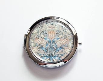 Pill box with mirror, Floral Mirror, Pill case with mirror, Vintage Pattern Design, Gift for Mom, Gift for Bride  (8581)