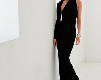 Evening Gown / Formal Dress / Prom Dress / One Shoulder Dress / Black Dress / Maxi Dresses / Unique Dress / Marcellamoda - MD0141