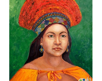 African Art- Zulu Bride I African Tribal Art I Original 16x20 Oil Painting I  Portraits by NC