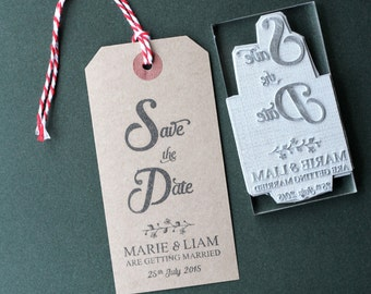 Save The Date custom rubber stamp. Wedding. Personalised. UK made