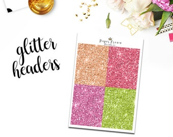 BOUQUET Glitter Headers/Planner Stickers for use with Erin Condren Life Planner/Happy Planner Stickers/Weekly Kit/Horizontal/Header