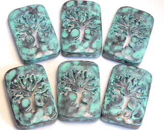 Six 2 Hole Slider Beads Or Spacer Beads Tree Of Life, Baobab Tree Cut Out Silhouette Antiqued Copper Plated Turquoise Painted Patina Finish
