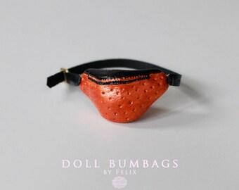 Copper Orange no4 - bum bag - miniature fashion for dolls - Blythe Licca Pullip Dal - handmade doll accessories by MissFelix