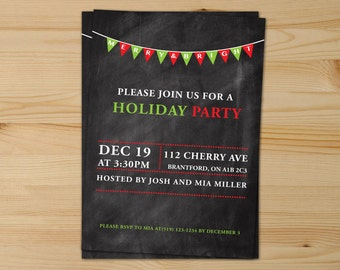 Merry And Bright Chalkboard Christmas Invitations, Chalkboard Christmas Invitations, Christmas Invitations