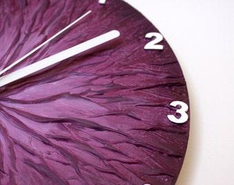 Original Painting Purple WALL CLOCK, unique wall clock, modern wall clock, purple home decor, purple clock