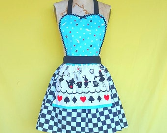 ALICE in WONDERLAND apron, Alice  in Wonderland dress up Apron, running costume, full aprons, womens apron, mad tea party