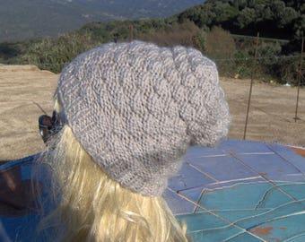 Winter hat, knitted wool grey BEIGE