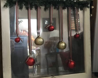 Rustic Christmas ornament mirror