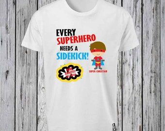 Side Kick Hero Design, New baby coming in to the family to be the side kick   Iron Tshirt Design FILE ONLY! New Baby, Big Brother tee shirt