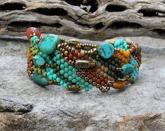 Jewelry - Free Form Peyote Stitch Beaded Bracelet  - Bead Weaving - Turquoise -  BOHO