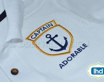 Captain Adorable Nautical Anchor Seal for your Little Sailor -- Applique Embroidery Design BO017