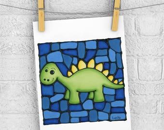 Cute Dinosaur 5 x 7 Print - Discontinued - 50% OFF - Nursery Art Print - Baby Room Wall Hanging - Cute stegosaurus Dino Print - Boy Room