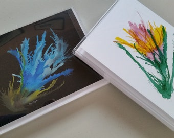 Alcohol Ink Flower cards