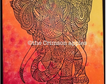 Painted canvas with vinyl elephant