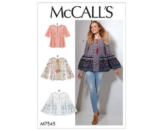 McCall's 7545 - Split-Neck Tops with Flared Sleeves