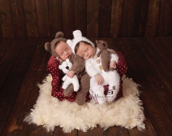 Newborn photo outfit mohair knit teddy bear romper bonnet photography prop footed or footless sleeper