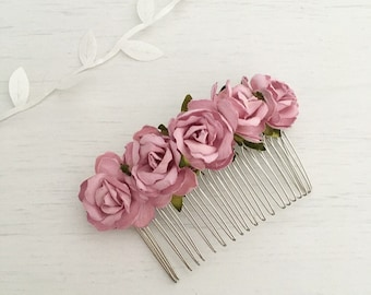 Pretty paper roses vintage pink hair comb - bridal accessories - flower girl - wedding