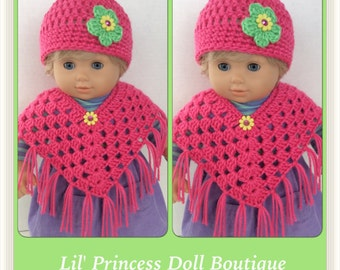 Set of 2 Poncho Sets For Bitty Twin Dolls, Bright Pink Crochet, 15 Inch
