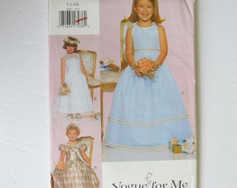 1990s UNCUT Vogue For Me Sewing Pattern 9801 Childrens Girls Formal Party Dress, Dropped Waist, Sleeveless or Short Puff Sleeves Size 5,6,6X