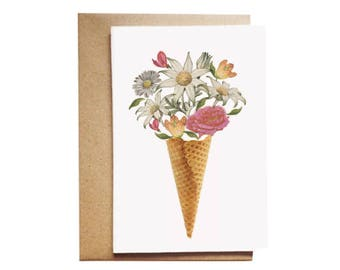 Flowers in a cone card