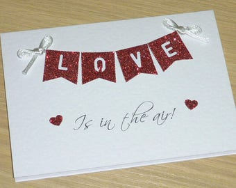 Wedding Engagement Anniversary card -   Love is in the air  Mr & Mrs Bride and Groom - modern  handmade greeting card