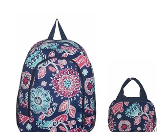 Monogrammed Backpack & Lunch Bag: pink flower, stripes, feather
