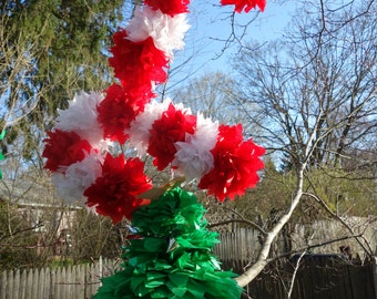 THREE (3) CANDY CANE Connecting PuffScape (Single-Sided) Handmade Tissue Paper Pom Pom Flower Puff Christmas Holiday Birthday Shower Wedding