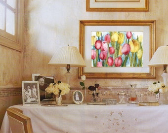 tulip painting | pink yellow | watercolor flowers | watercolor art | watercolor painting | art print | watercolor print | garden painting