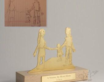 Plaqué or argent sculptures am personnalisés de votre enfants art, cadeau idéal pour maman et papa, celui d'un souvenir unique