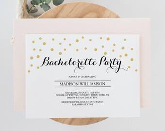 "Printable Bachelorette Party Invite Template - Gold Confetti Bridal Invitation - Instant Download - Editable PDF - 5""x7"" and 4""x6"" -#GD0607"