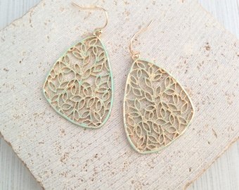 Leaf Earring,Blush Leaf Earring,Vintage Leaf Earring,Leaf Dangle Earring,Pastel Leaf Dangle,Delicate Leaf Earring,Leaf Drop Earring