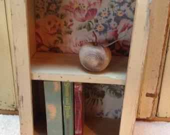 Rustic  wall cupboard with barkcloth