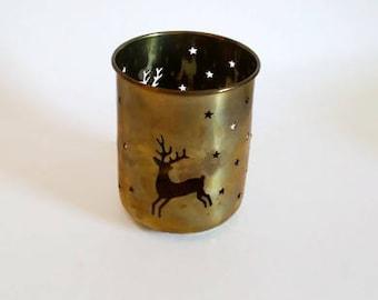 Brass Tealight Holder  Die-cut Reindeer Design