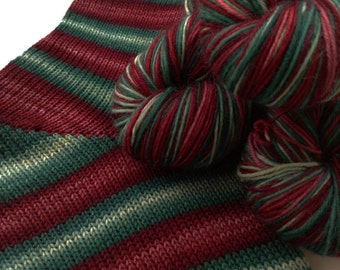 Hand dyed self striping sock yarn - Vintage Baubles