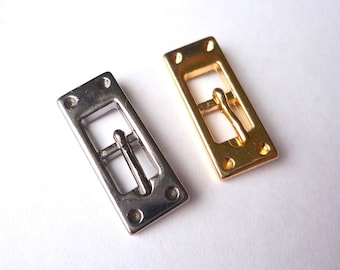 6 tiny rectangle buckle, 24 x 9 mm black gunmetal or gold plated zinc alloy buckle