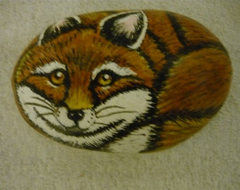 Red Fox On Hand Painted Rock, paperweight, Knick Knack