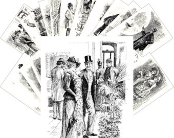 Postcards Set 24pcs * Voces Populi by Bernard Partridge Vintage Book Engraving CC1143