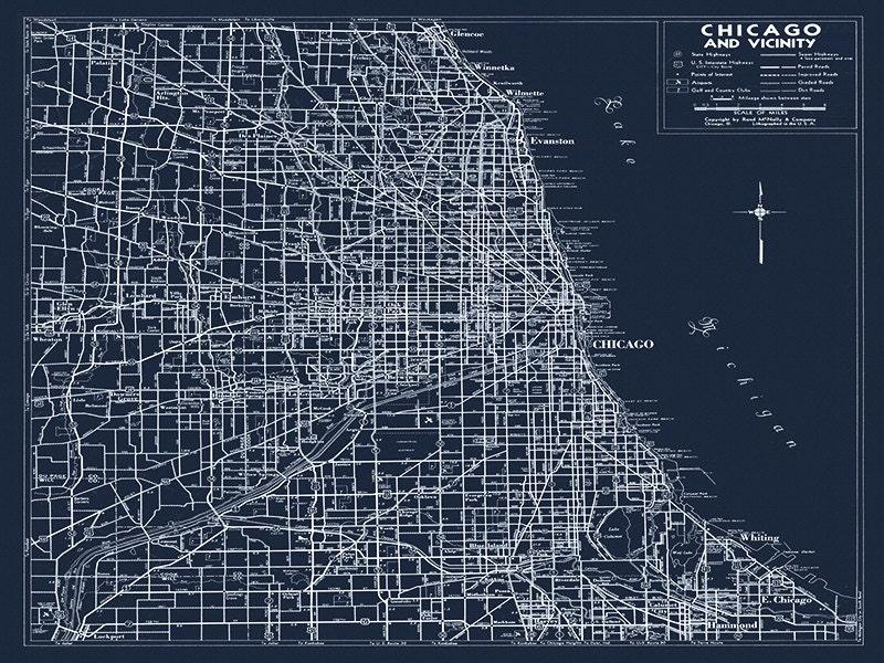 zoom CUSTOM 18x24 CHICAGO Road Map 1940
