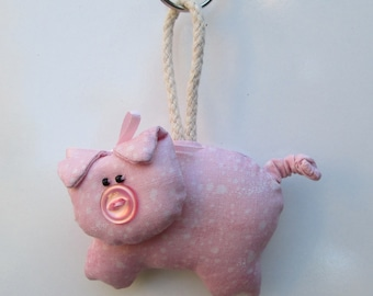 2 PATTERN OPTIONS - Fabric Button-Nose Pig keychain, ornament, accessory