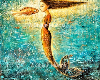 Mermaid Art, Mystical Mermaid blue original oil on canvas by Shijun Munns-Art gift-Fantasy wall art-Oil painting-Ocean art-Signed original