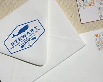 Custom Stamp - Return Address Stamp - Whale Stamp - Preppy Whale Address Stamp - Personalized Address Stamp