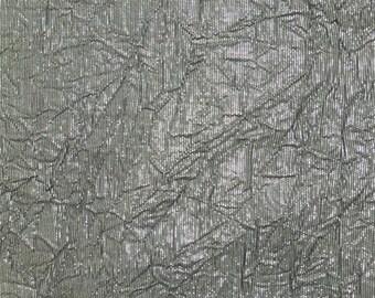 Metallic Grey Crinkle, Fabric By The Yard