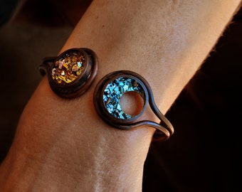 Sun and Moon Bracelet - Bismuth and Copper Boho Cuff