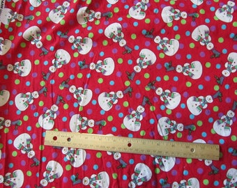 1.5 Yards/54 Inches Red Snowman Polka Dots Cotton Fabric
