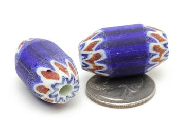 Vintage African Clay Tube Beads Red White and Cobalt Blue 18x30mm 2pcs