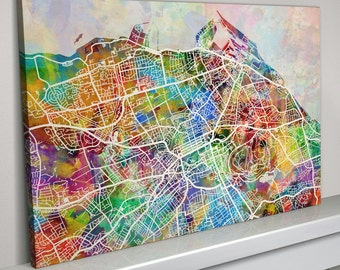 World map canvas watercolour map of the world box canvas art edinburgh map edinburgh scotland city map box canvas art print 1348 gumiabroncs Gallery