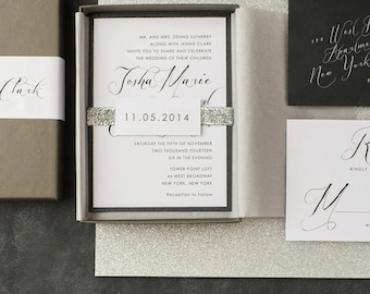 "Calligraphy Wedding Invitations, Glitter Boxed Wedding Invitation, Black, White - ""Black Script"" Box Invite Sample"