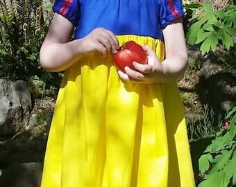 Snow White Dress - Snow White Inspired Cotton Dress - Snow White Play Dress - Snow White Disneybound - Girls Snow White Costume
