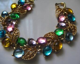 VINTAGE HUGE RHINESTONE Bracelet Multi Colored Stones
